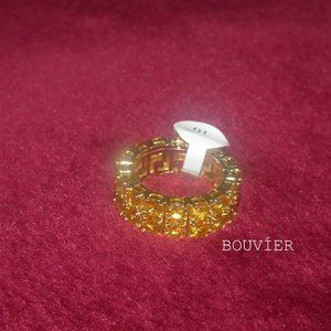 18K Solid Yellow Gold Diamond Two Row Tennis Ring